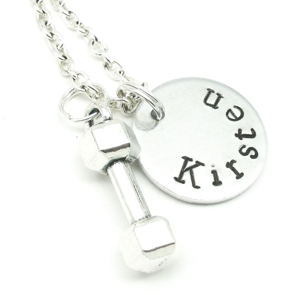 Dumbbell name necklace personalised gift
